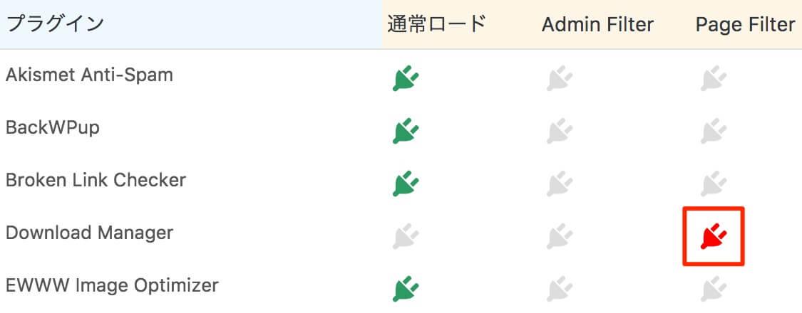 Plugin Load Filterの読み込み方を選択