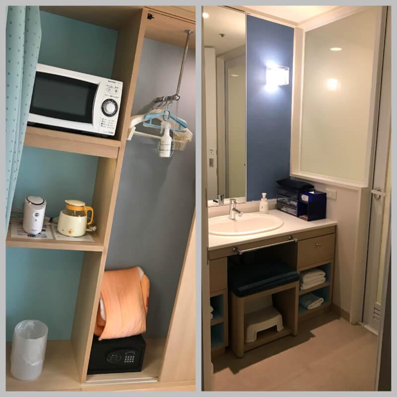 ホテルユニバーサルポート(WAKU WAKUワンダールーム)の部屋。電子レンジや調乳ポットが完備