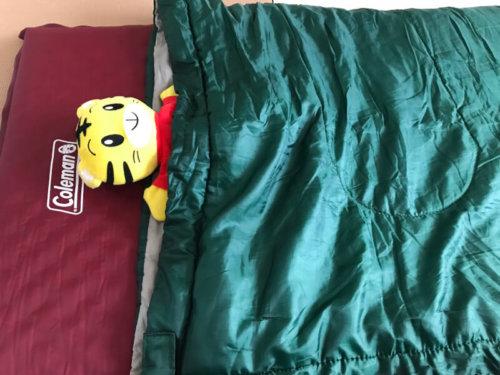 キャプテンスタッグの寝袋で寝ているところ
