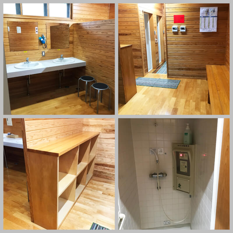 ひなもりオートキャンプ場のシャワールーム