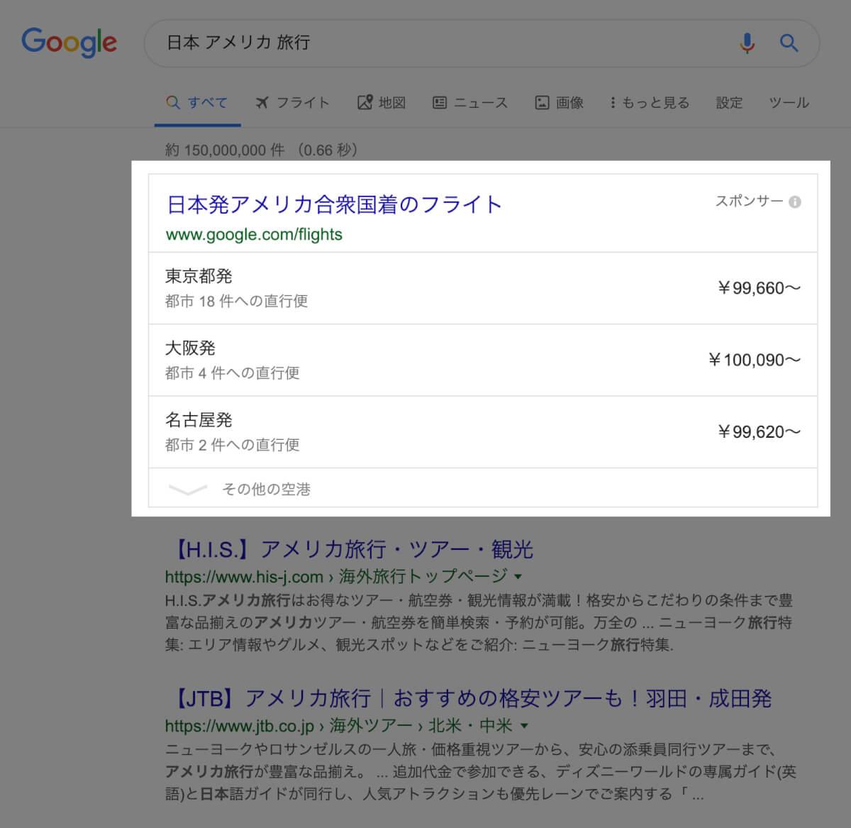 「日本 アメリカ 旅行」と検索した時のGoogle検索結果